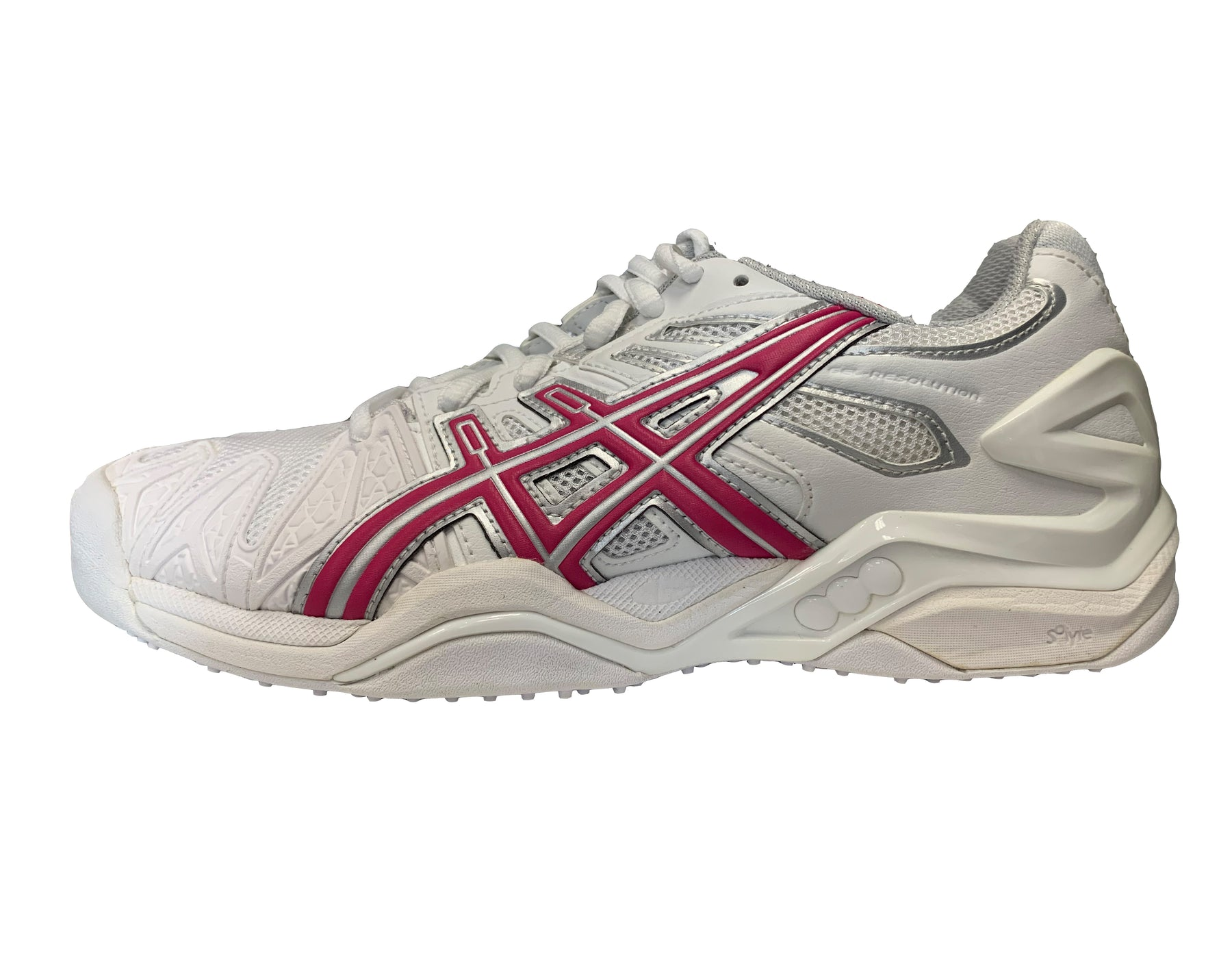 Asics Women's Gel-Resolution 5 Grass Court Tennis Shoes in White/Raspberry/Silver