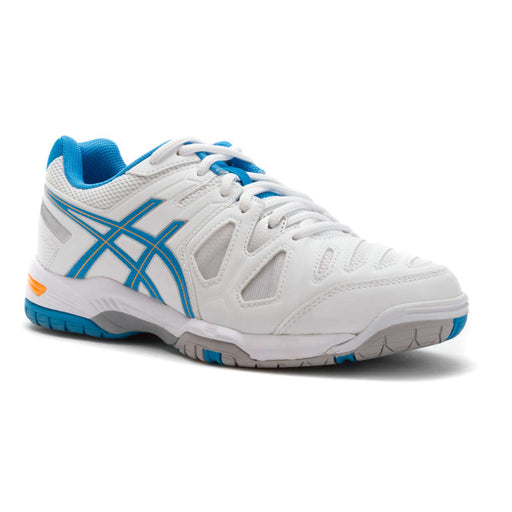 Asics Women's Gel-Game 5 Tennis Shoes in White/Soft Blue/Nectarine - atr-sports