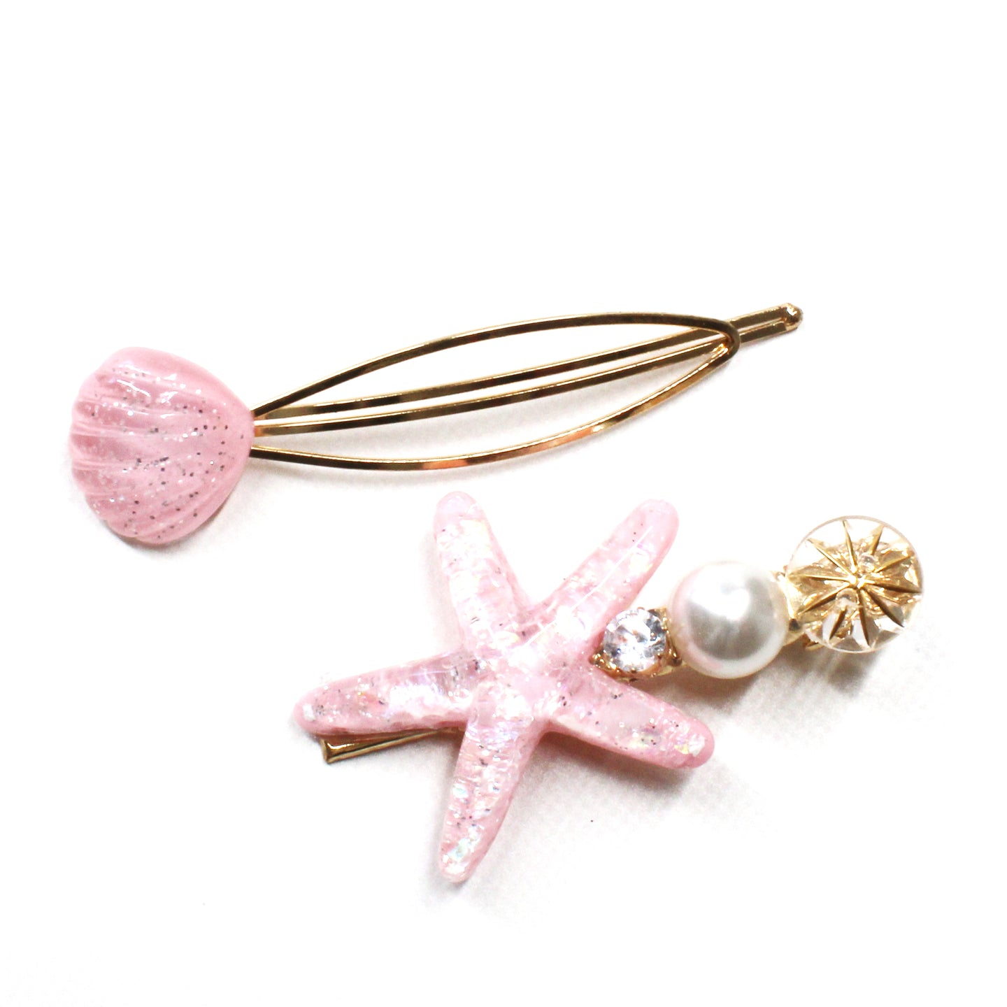 Aquamarine Starfish and Shell Slider Clip Set - Pink