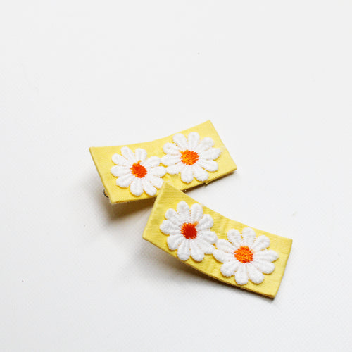 Daisy Floral Fabric Clips - Yellow
