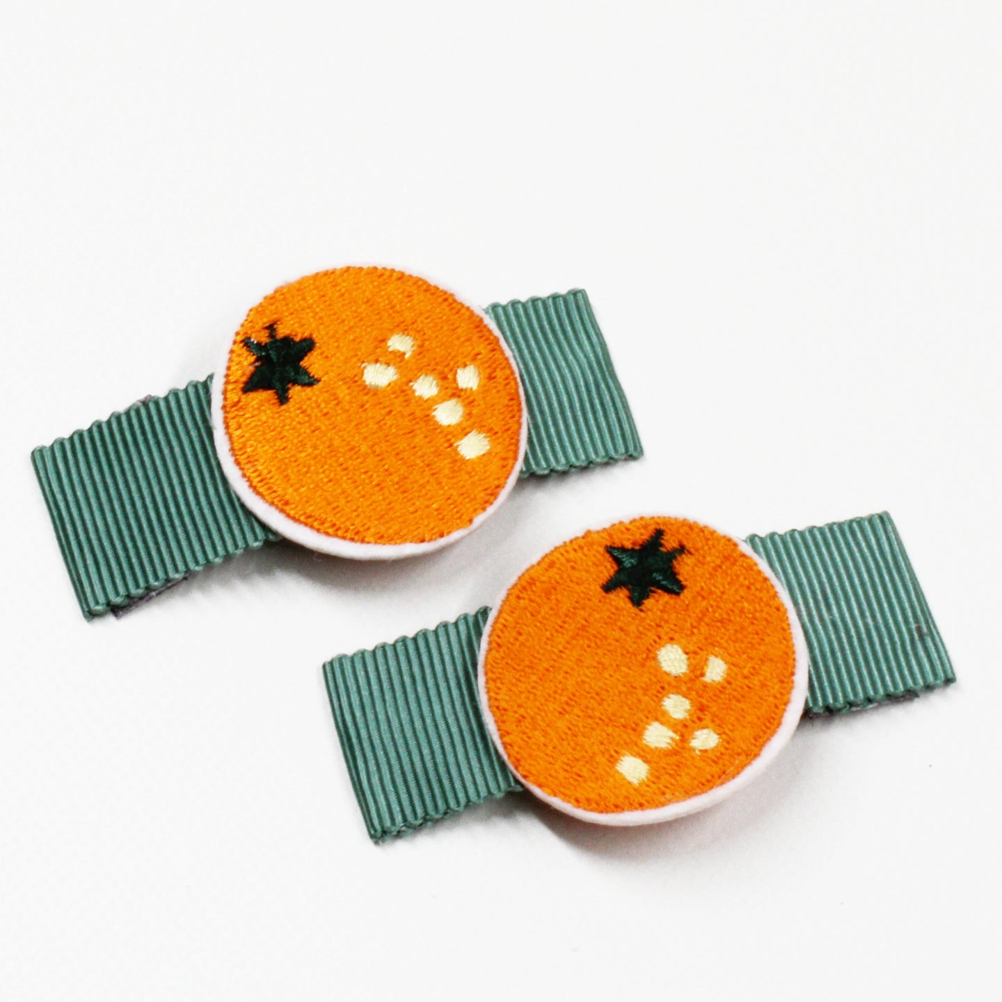 Fabric Fruits Hair Clips - 1 Pair Orange