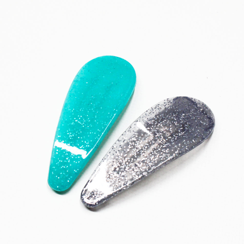 Fine Glitter Hair Clip Pair - 2 Colours