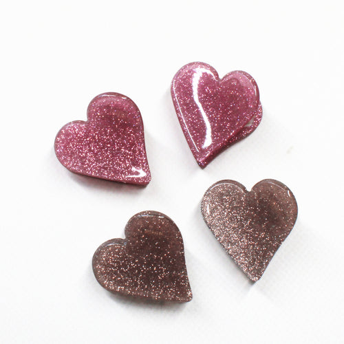 Heart Glitter Mini Clips - 1 Pair (Two Colours)
