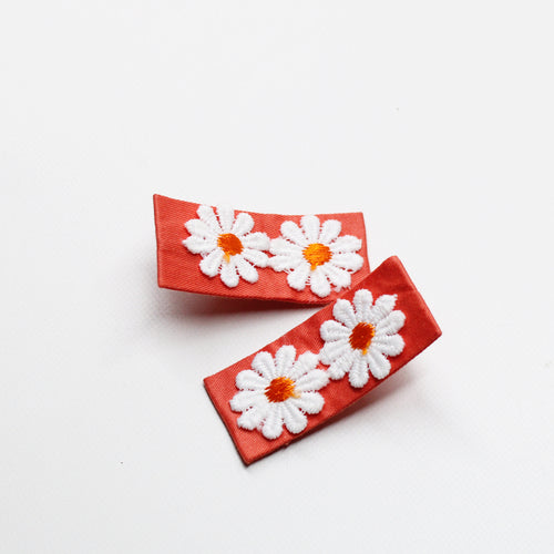 Daisy Floral Fabric Clips - Grapefruit