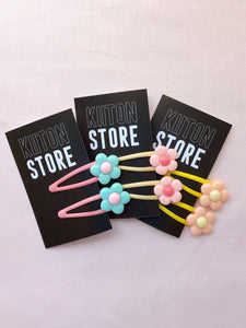 Pastel Flower Hair Clips - 1 Pair (Choose from 3 colours)
