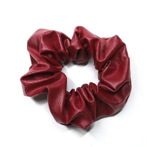 Leatherette Scrunchie - Wine