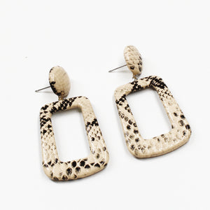 Faux Snakeskin Earring - Light