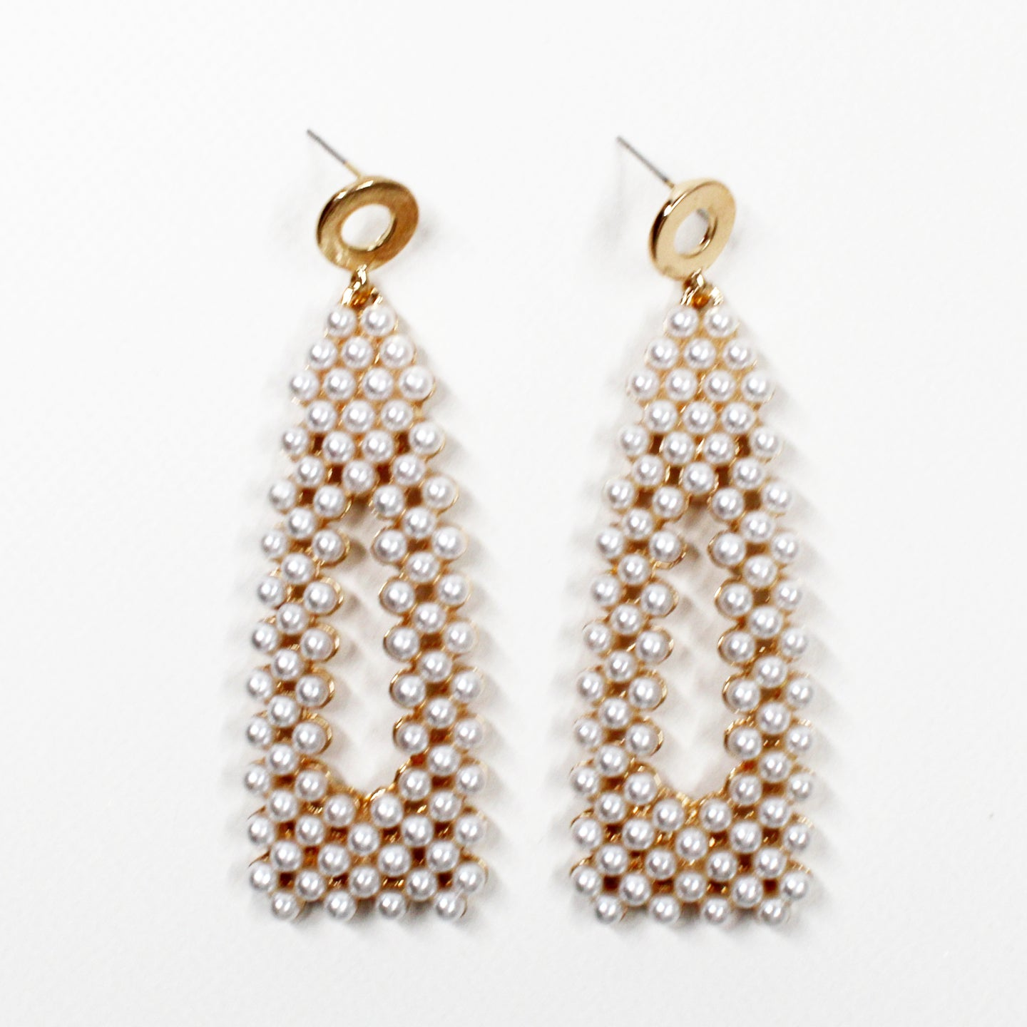 Kyla Pearl Weave Earrings - Triangle