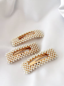 Pearl Weaved Rectangular Hair Barrette