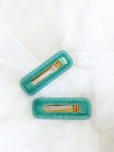 Load image into Gallery viewer, Luna Hair Barrettes - Teal Glitter 1 Pair