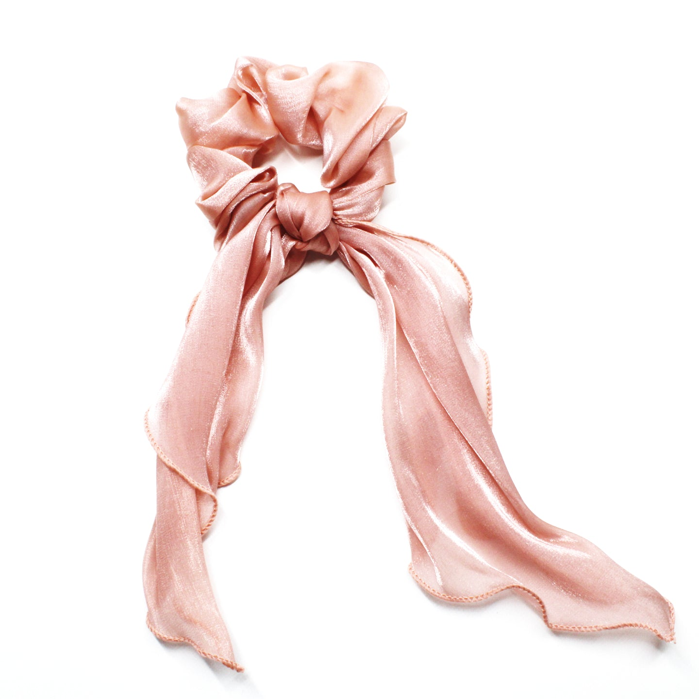 Luna Ribbon Waterfall Scrunchie - Blush