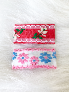 Embroidered Floral Fabric Clips - 1 Pair (Pink, Blue)