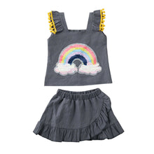 Load image into Gallery viewer, Bold Sequined Rainbow Top & Skirt Set
