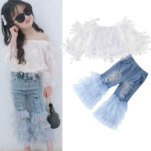 Super Trendy Top Ruffle Shredded Bottom