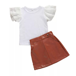 Age Range: 9m-4y - Leather Skirt + Stylish Top