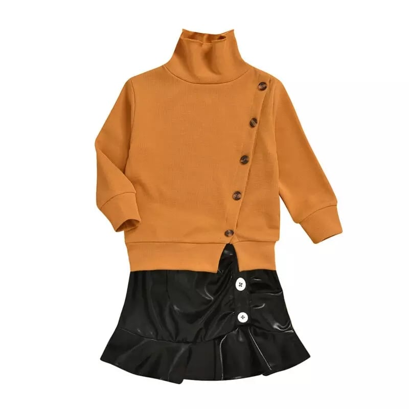 Buttoned Highneck Top + Leather Skirt - Sizes: 1 to 5 Years