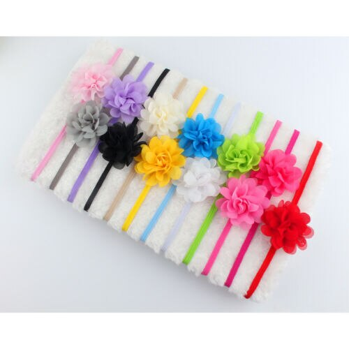 Pack of 12 Soft Elastic Flower Bands (All Infants)
