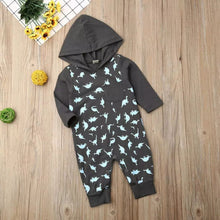 Load image into Gallery viewer, Dino Filled Hooded Romper - Size Range: 3 to 18 Months