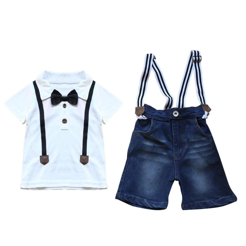 Super Polo Top + Denim Suspenders Shorts - Size Range: 1 to 7 Years