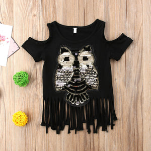 Chic Sequined Owl Top  (1 - 5 Y)