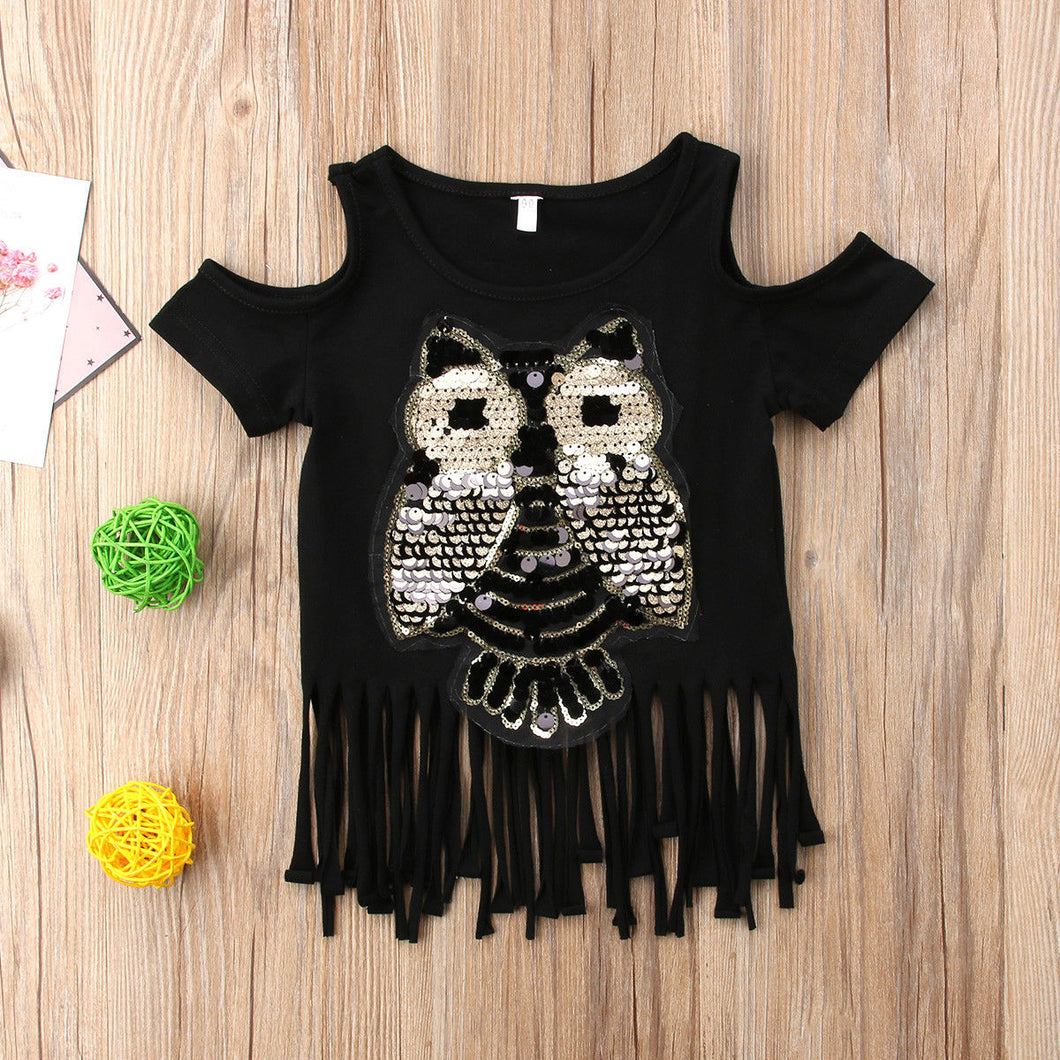 Chic Sequined Owl Top - Size Range: 1 to 5 Years