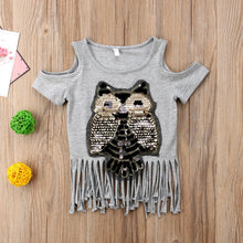 Load image into Gallery viewer, Chic Sequined Owl Top - Size Range: 1 to 5 Years