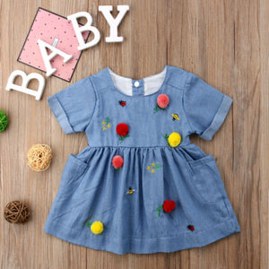 Soft Denim Blend Uniquely Embroidered Frock (3 - 18 M)