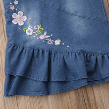 Load image into Gallery viewer, Suspender Jeans Denim Embroidered Frock (3 - 18 M)
