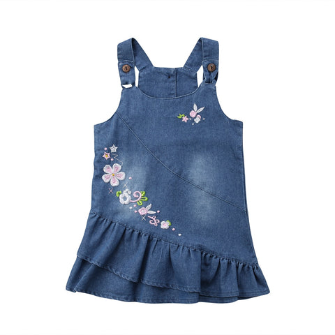 Suspender Jeans Denim Embroidered Frock (3 - 18 M)