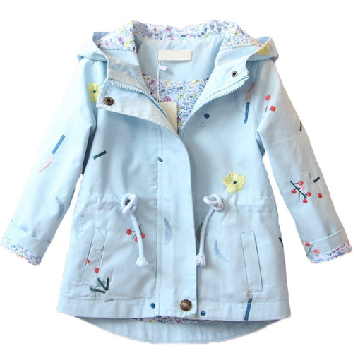 Windbreaker Hooded Embroidered Coat (2 - 7 Y)