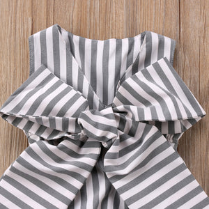 Adorable Bow Romper with Neat Stripes  (0 - 12 M)