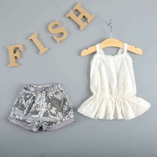 Halter Straps Sling Top & Sequined Shorts