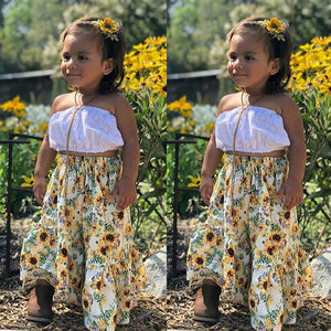 White Tube Top with Sunflower Bottom (1 - 5 Y)