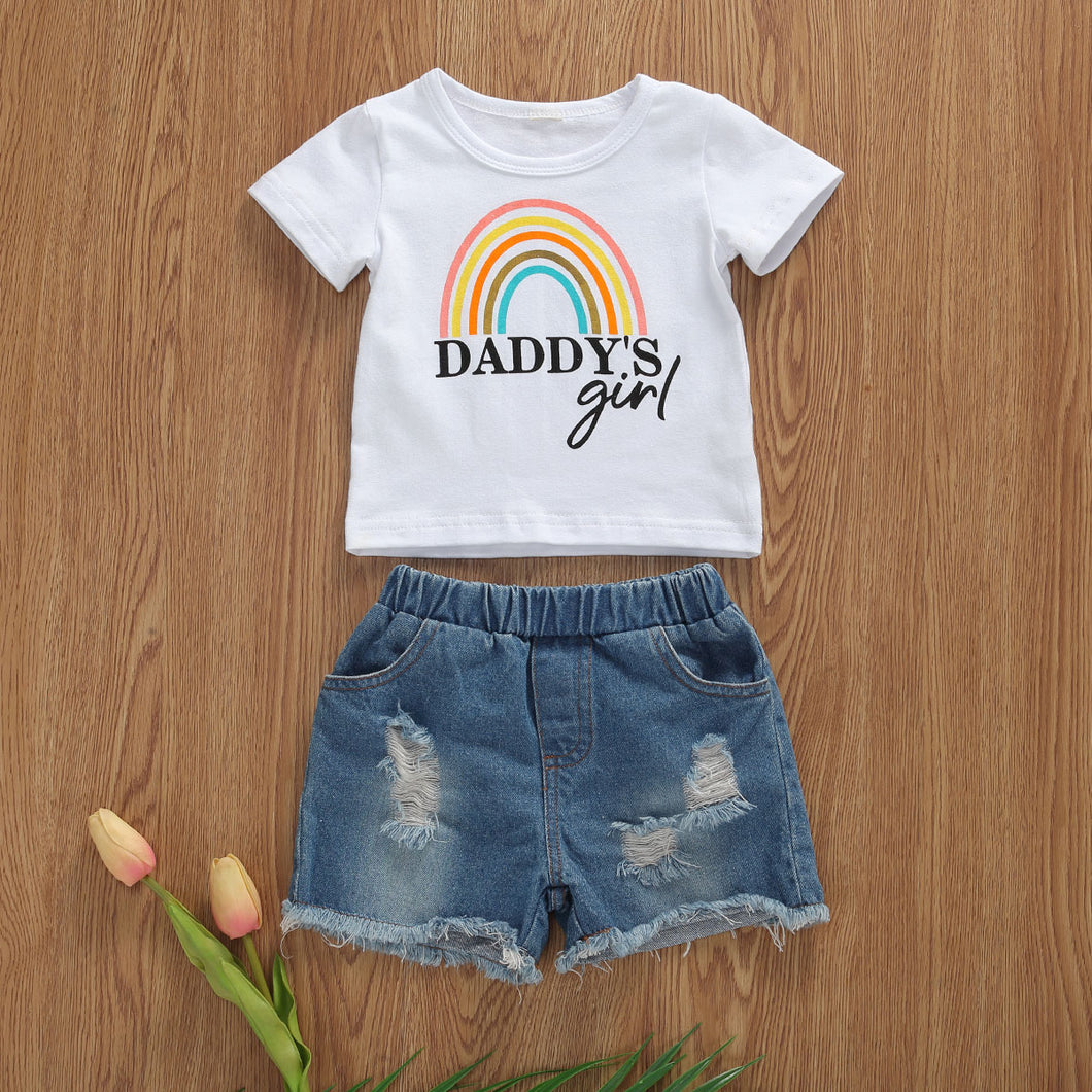 Daddy's Rainbow Girl Outfit (Tee + Shorts)