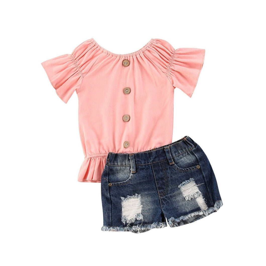Buttoned Lantern Top + Denim Shorts