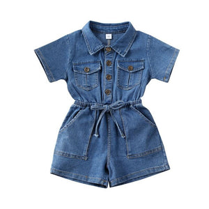Summers Classic Solid Denim Jumpsuit