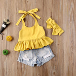 Load image into Gallery viewer, Age Range: 6m-3y - Vibrant Top & Denim Shorts + Headband