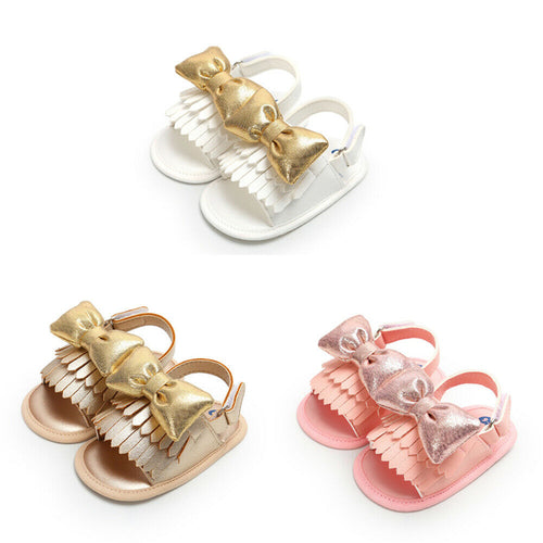 Soft Soled Big Bowed PU Leather Sandals