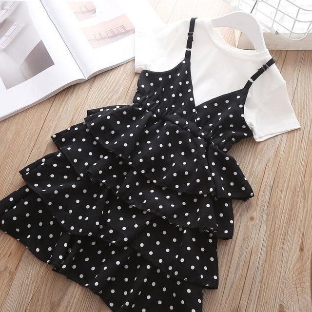 Dotted Frilly Frock & Cotton Tee - Size Range: 1 to 5 Years