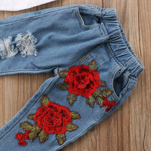Load image into Gallery viewer, Double Flower Jeans + Trendy Top - Size Range: 1 to 5 Years