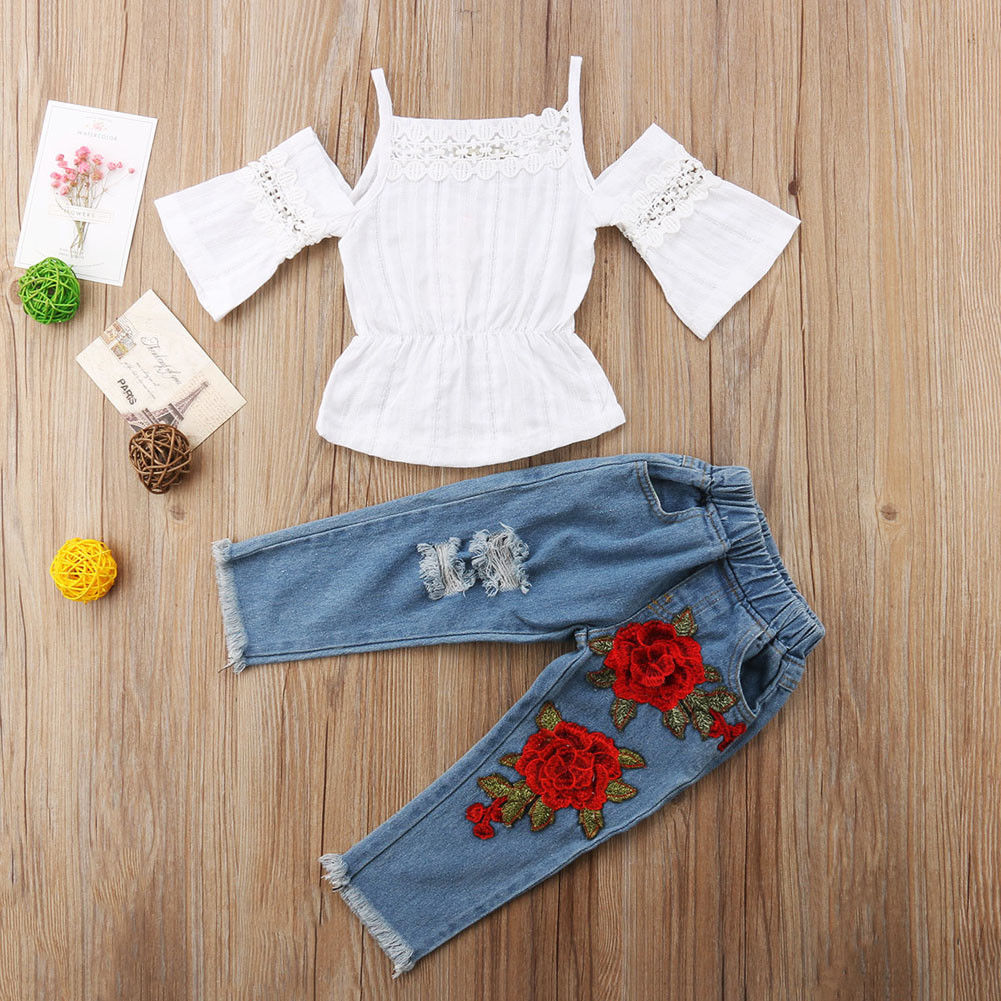 Double Flower Jeans + Trendy Top - Size Range: 1 to 5 Years