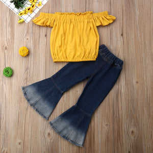 Fashion Bell Denim & Off Shoulder Top