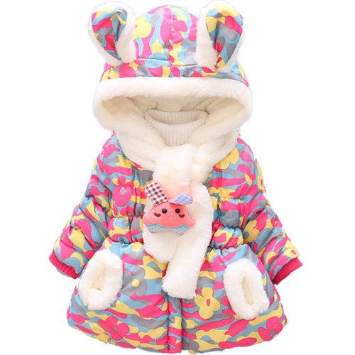 Vibrant Hooded Jacket with Bunny Scarf (9M - 3Y)