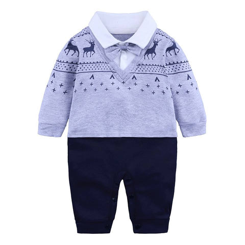 Baby Romper Suit for Baby Gentlemen  Gray (0-18 M) - GoFancy