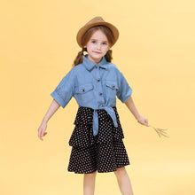 Load image into Gallery viewer, Frilly Dotted Frock with American Denim Top