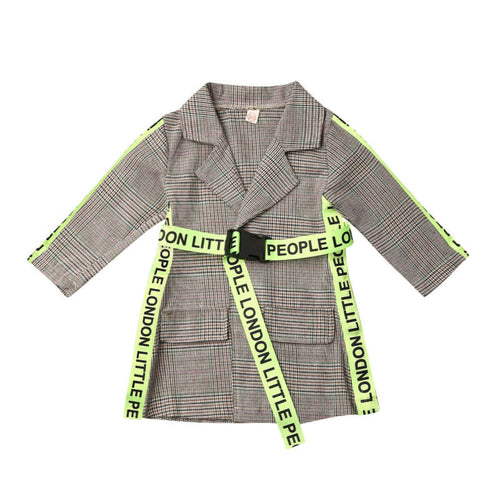 Unique Belted Plaid Print Trench Coat (1 - 5 Y)