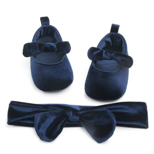 Soft Velvet Shoes with Hairband (0 - 15 M)