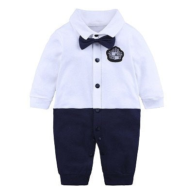 Baby Romper Suit for Baby Gentlemen  Black (0-18 M) - GoFancy