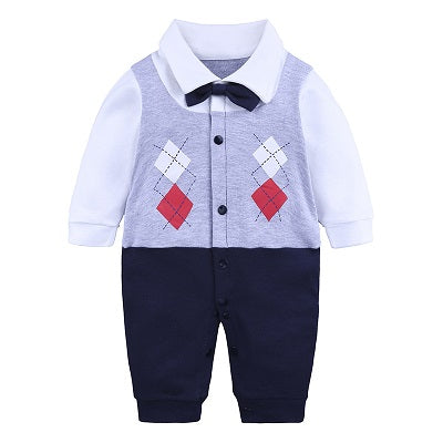 Baby Romper Suit for Gentlemen  Gray (0-18 M) - GoFancy