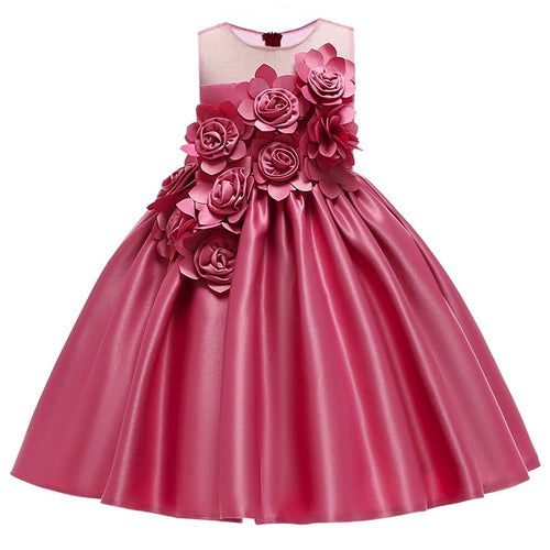 3D Flowers Princess Dress (18M - 8Y)